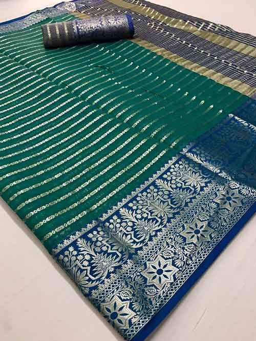 Green Colored Soft Cotton Weaving Designer Saree - New Saree Design