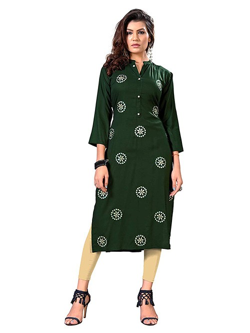 Green Colored Straight Gota Patti Kurti Online