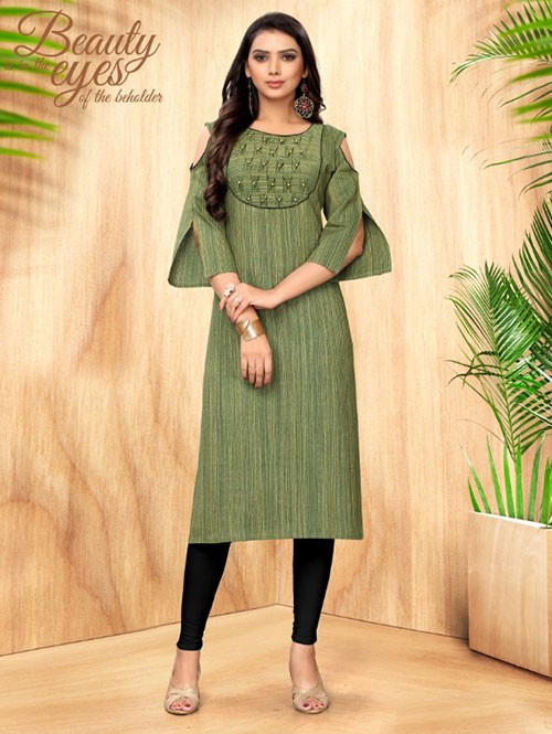 Green Colored Straight Handloom Cotton Kurti Online - 5 Star
