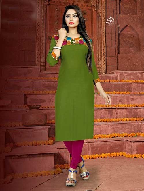 Green Colored Straight Rayon Print Kurti Online