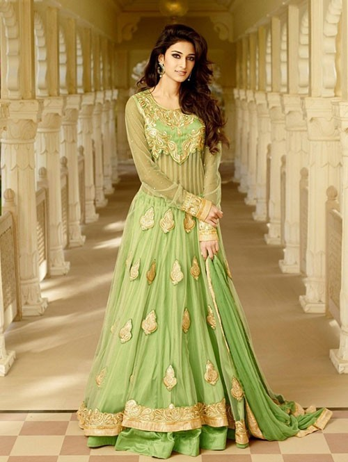 Green Colored Tusser Silk With Net Salwar Suit