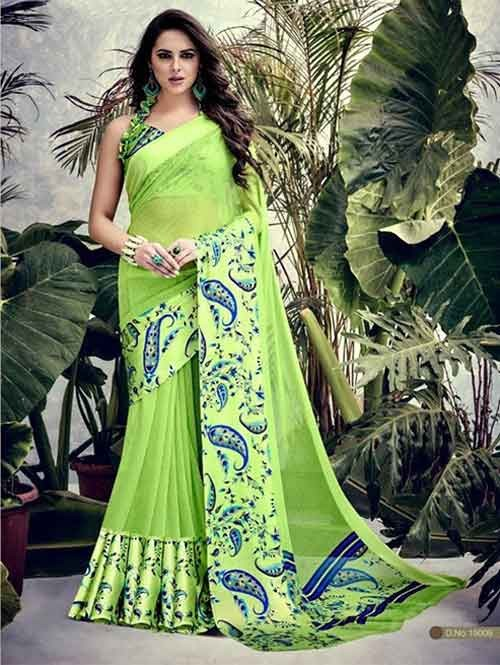 Green Colored weightless Satin Patta Printed Saree