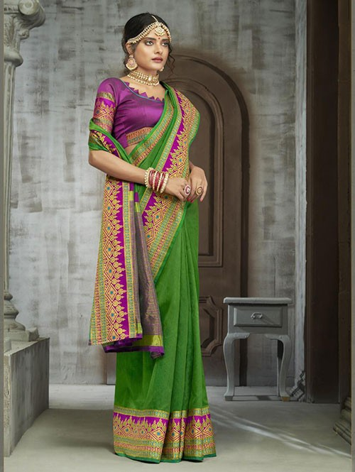 Green Colored Zari Chex Cotton Silk Fancy Saree