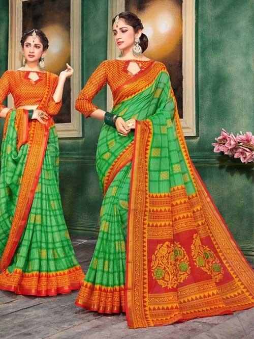 Green Colored Zari Chex Cotton Silk Saree - Vinamrta