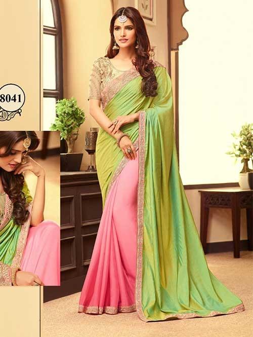 Green-Pink Color Designer Paper Silk And Moss Chiffon Saree