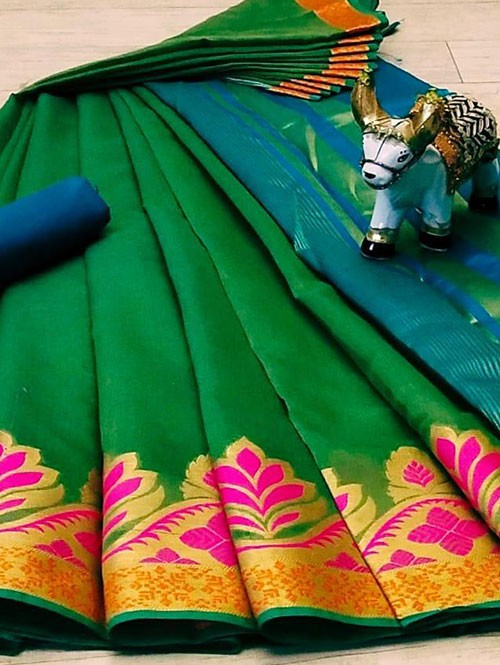Green Soft Cotton saree with Blouse - cotton sarees online shopping