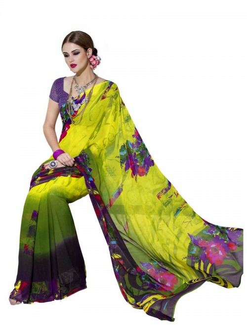 Green Color floral Printed Beautiful weightless saree with Blouse