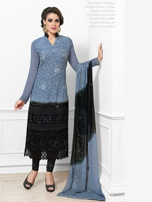 Grey and Black Colored Beautiful Embroidered Faux Chiffon Suit