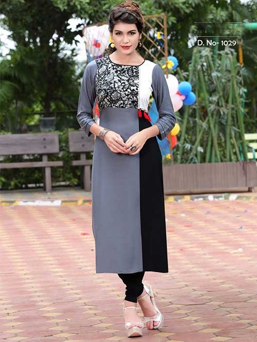 Grey And Black Colored Beautiful Rayon Printed Kurti