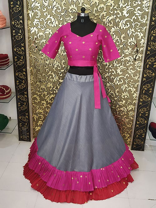 Grey and Pink Colored Banglory Ruffle Lehenga With Beautiful Embroidered Blouse