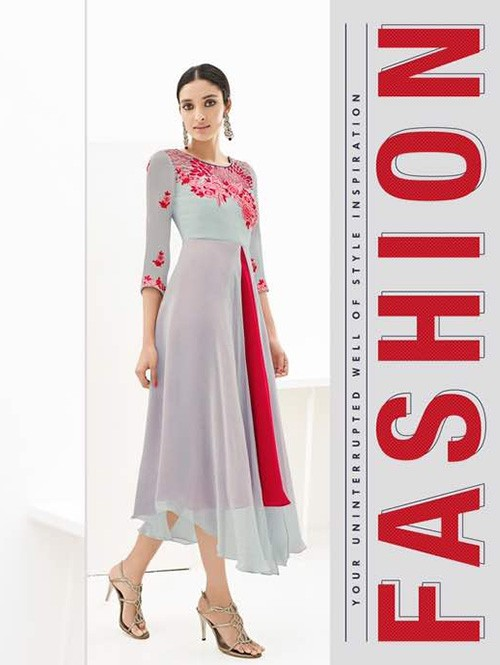 Grey and Red Colored Beautiful Georgette Double Layered Kurti with Heavy Embroidery.