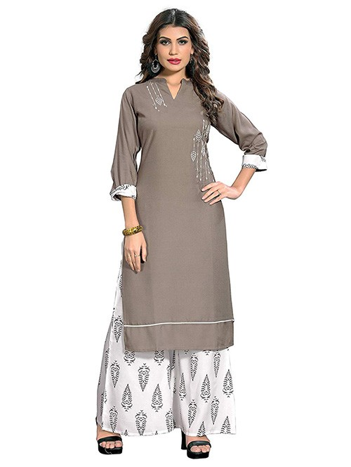 Grey and White Colored Beautiful Printed and Embroidered Straight Rayon Kurti with Palazzo