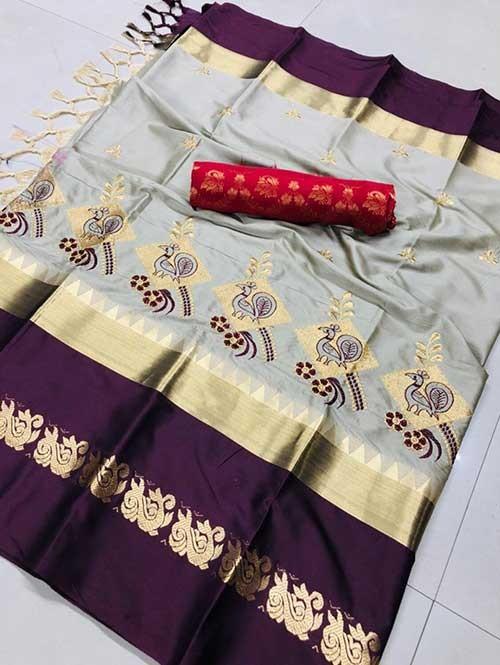 Grey Color Beautiful Embroidered Cotton Silk Saree Have beautiful Weaving Border - Kesari