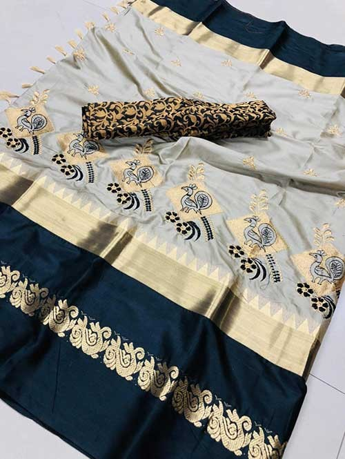 Grey Color Beautiful Embroidered Cotton Silk Saree Have beautiful Weaving Border