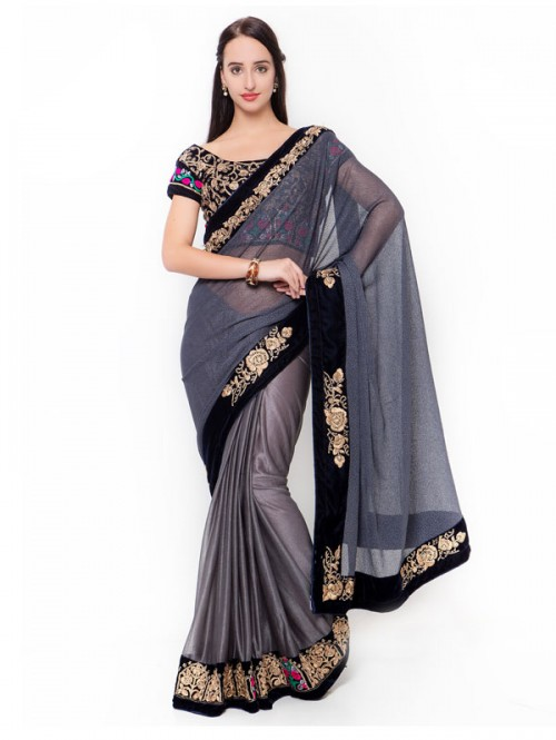Grey Color Beautiful Georgette Saree with velvet embroidered Blouse
