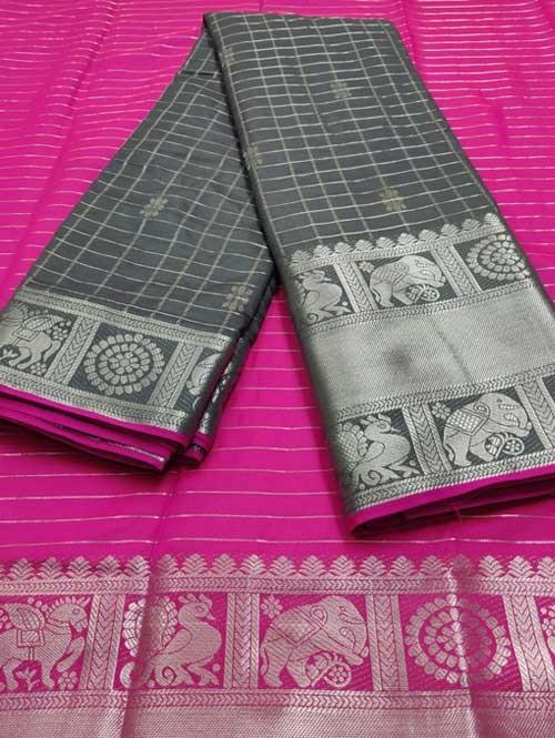 Grey Color Beautiful Silk Saree With Zari Weaving Border - Nakshatra