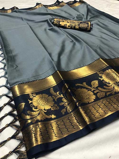 Grey Color Beautiful Weaving Cotton Silk Saree