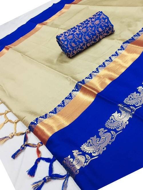 Grey Color Beautiful Weaving Cotton Silk Saree
