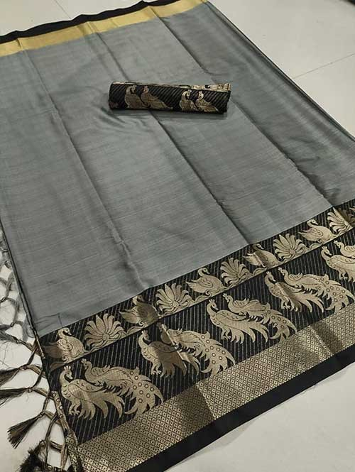 Grey Color Beautiful Weaving Cotton Silk Saree - Mahishmati