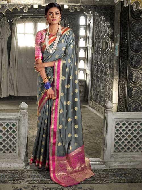 Grey Color Beautiful Weaving Silk Saree - Kaanch