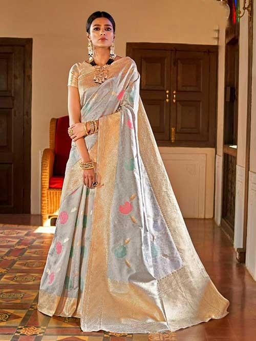 Grey Color Beautiful Weaving Silk Saree - Kanshula