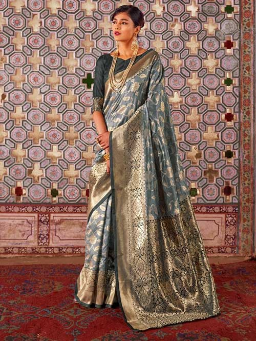 Grey Color Beautiful Weaving Silk Saree - Karveena