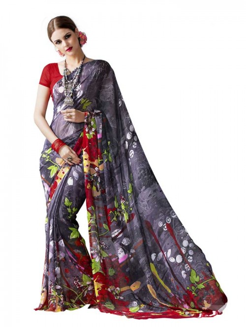 Grey Color floral Printed Beautiful weightless saree with Blouse