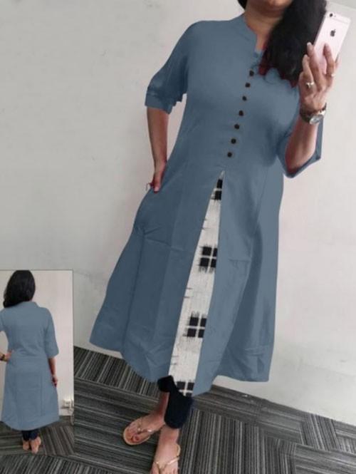 Grey Colored Beautiful A-line Heavy Flex Cotton Kurti
