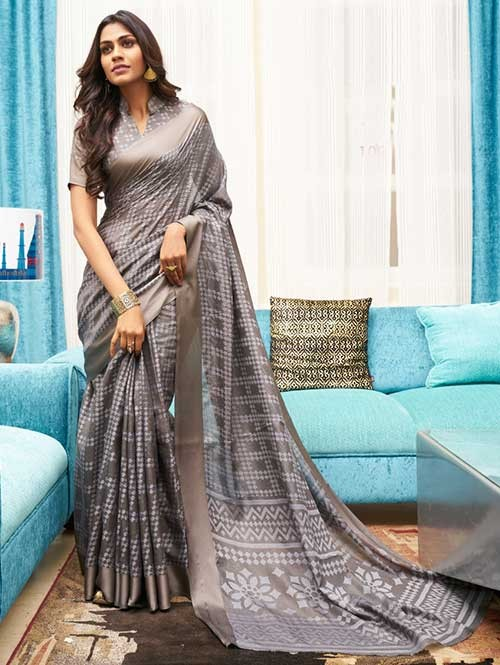 Grey Colored Beautiful Brasso Soft Silk Fancy Saree - Elegance