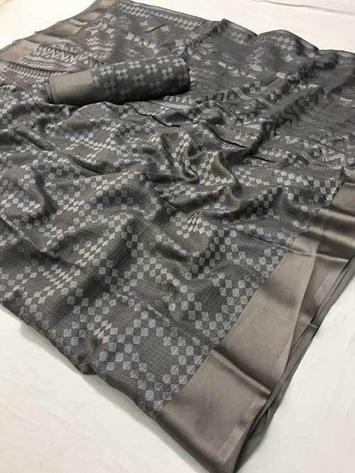 Grey Colored Beautiful Brasso Soft Silk Fancy Saree - Maharashi