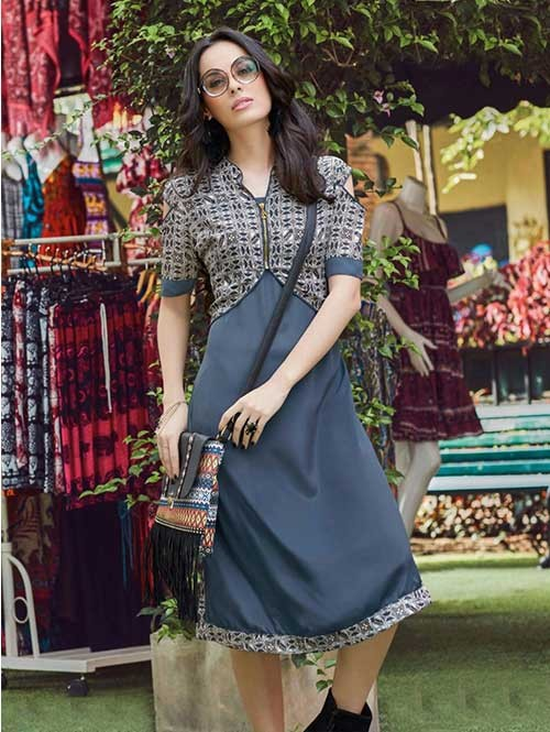 Grey Colored Gorgeous Printed Crepe Kurti.