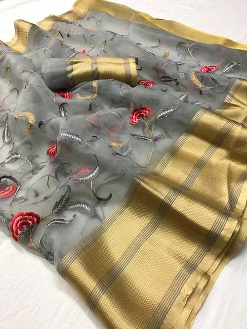 Grey Colored Beautiful Embroidered Branded Organza Silk Sarees - Kusum