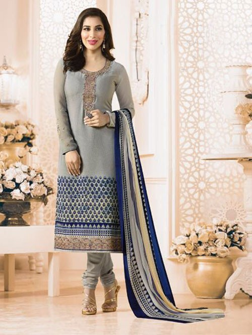 Grey Colored Beautiful Embroidered France Creap Salwar Suit