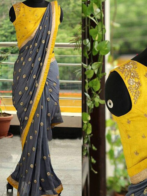 Grey Colored Beautiful Embroidered 60 Gm Georgette Saree