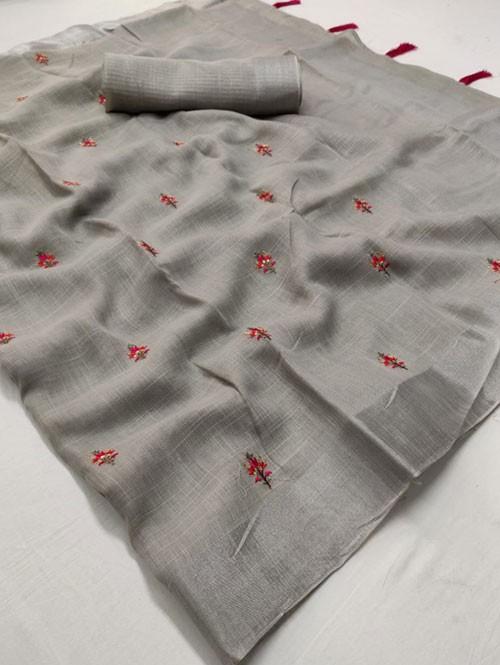 Grey Colored Beautiful Embroidered Linen Saree - Kashmiri