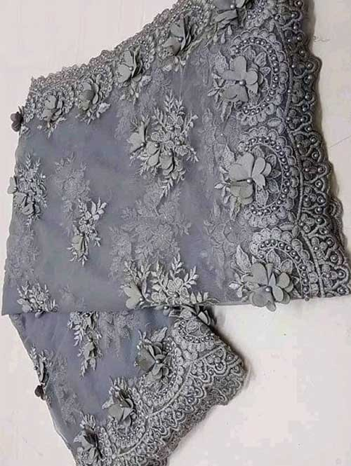 Grey Colored Beautiful Embroidered Net Saree