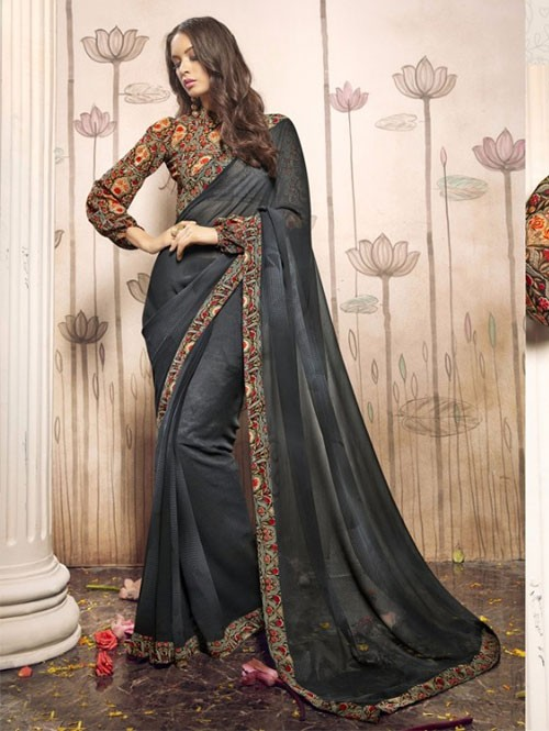 Grey Colored Beautiful Faux Georgette Saree with Printed Blouse.