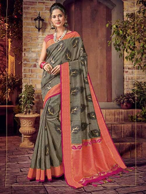 Grey Colored Beautiful Hand Dyeing Soft Silk Saree