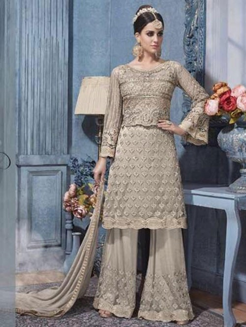 Grey Colored Heavy Embroidered Net Suit With Beautiful Plazzo.