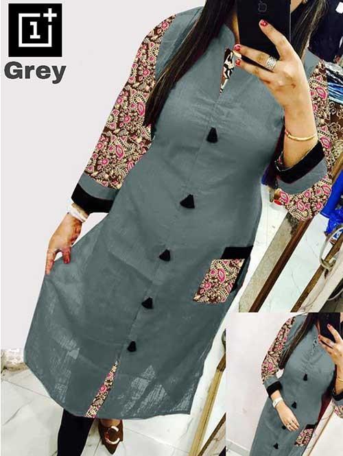 Grey Colored Beautiful Kalamkari Printed Straight Slub Cotton Kurti.