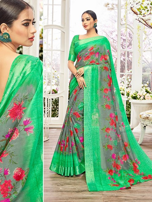 Grey Colored Beautiful Linen Cotton Saree With Authentic Handloom Art Prints Based On Mastered Art Of Weaving Fabrics