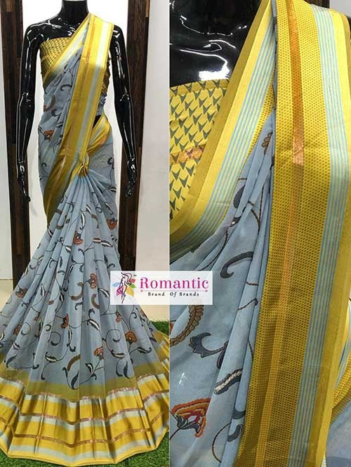 Grey Colored Beautiful Printed Georgette Saree With Satin Patta - Chameli