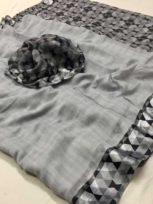 Grey Colored Beautiful Printed Linen Saree with Satin Patta - Stavan Silk