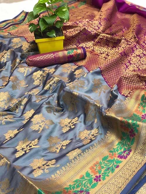 Grey Colored Beautiful Soft Banarasi Silk Mina Work Silk Saree Online