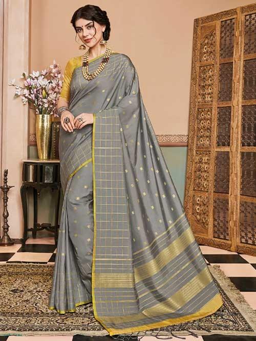 Grey Colored Beautiful Soft Silk Fancy Saree Online - Mishika