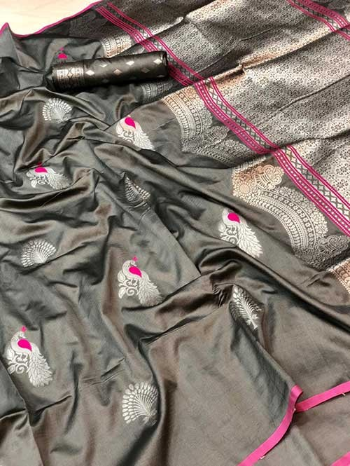 Grey Colored Beautiful Soft Silk Traditional Saree Online