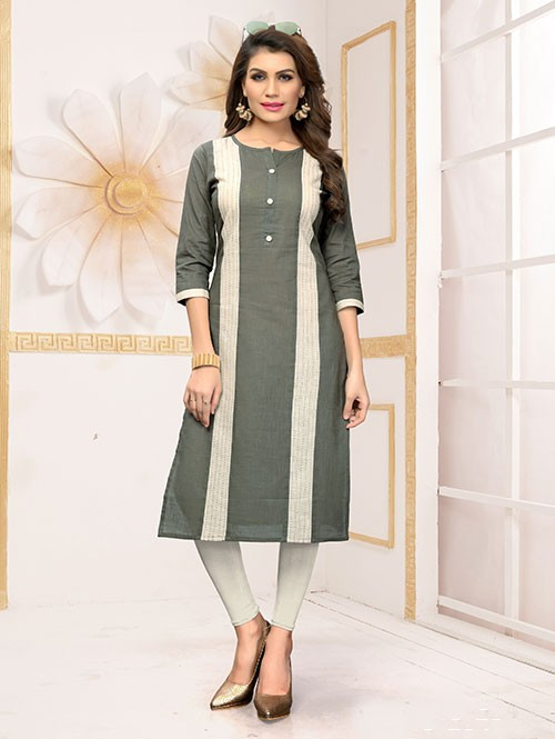Grey Colored Beautiful Straight Cotton Kurti with Handwork