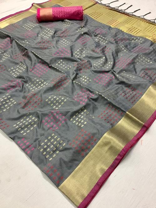 Grey Colored Beautiful Thousand Butta Of Zari Soft Saree - Kangan