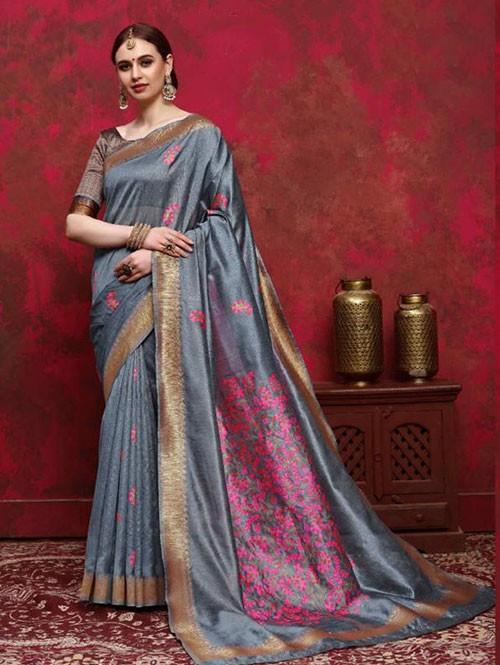 Grey Colored Beautiful Weaving Silk Saree - Kalika