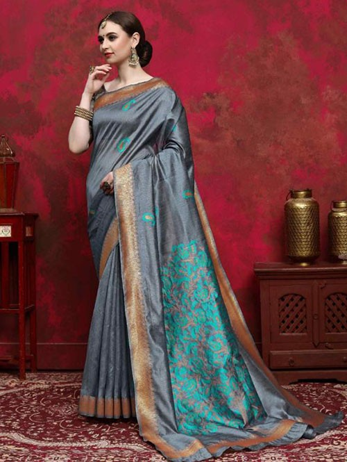Grey Colored Beautiful Weaving Silk Saree - Kalika